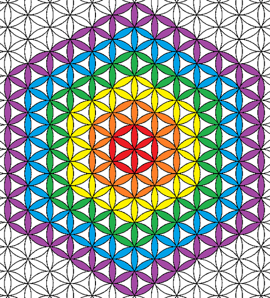 Flower of Life (geometry) coloring of extended grid