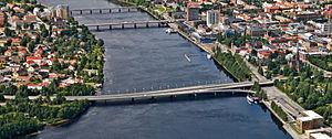 Kyrkbron, Umeå - Aerial photo of Ume river in central Umeå. The nearest bridge is the Kyrkbron.