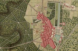 Avon, Seine-et-Marne - Map of Fontainebleau and Avon from Atlas de Trudaine, 18th century (French National Archives)