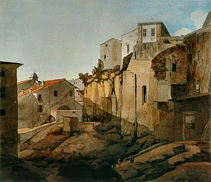 Francis Towne - The Tarpeian Rock, Rome, 1780, reworked later