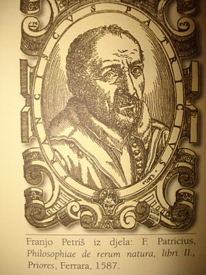Franciscus Patricius - Portrait of Franjo Petriš from his book Philosophiae de rerum natura, vol. II, published in Ferrara in 1587