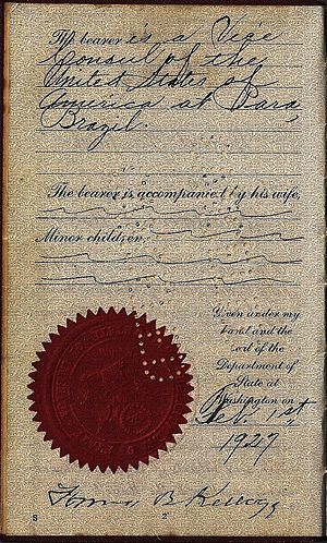 Frank B. Kellogg - 1927 hand signed passport by Frank B. Kellogg as Secretary of State