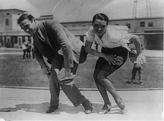 Bright Lights (1925 film) - Frank Farnum coaching Pauline Starke in the Charleston for her role in the film.