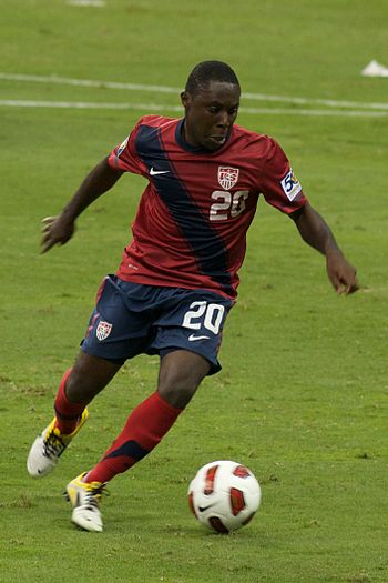 English: Freddy Adu representing the US soccer...