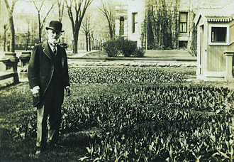 Frederick Layton - Frederick Layton in garden in front of his Marshall Street residence in Milwaukee