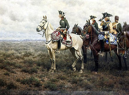 Frederick and staff at Leuthen Frederick the Great and his staff at the Battle of Leuthen by Hugo Ungewitter.jpg