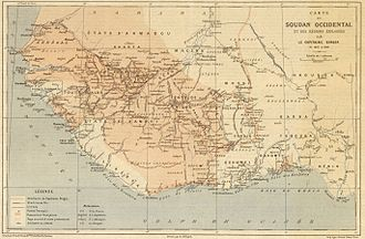 French Sudan - Map of French colonies in West Africa in 1889.