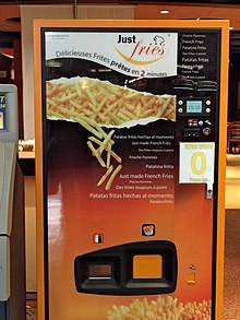 A Just Fries brand French fry vending machine at Central Station in Montreal, Canada (2009)