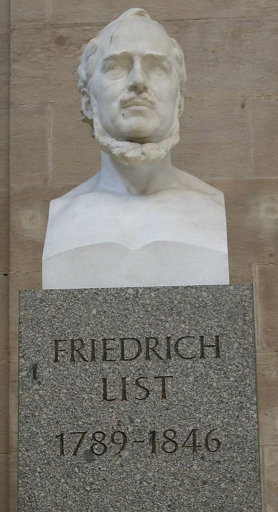 Memorial statue at the main railway station of Leipzig Friedrich list statue at leipzig hauptbahnhof.jpg