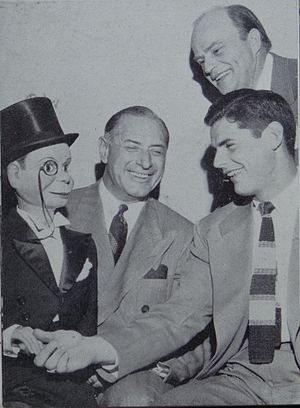 Fritz Crisler - Crisler and Bob Chappuis pose with Edgar Bergen and Charlie McCarthy prior to 1948 Rose Bowl.