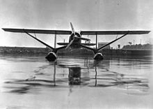 Frontal view of a BKV of the Mackenzie Air Service on Edo floats (26685902704).jpg