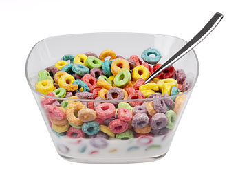 Breakfast cereal - Breakfast cereal primarily marketed to children, such as Froot Loops, is commonly brightly colored and high in sugar.