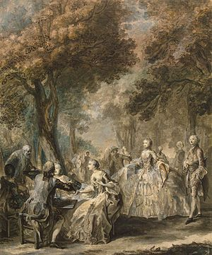 Gabriel de Saint-Aubin - Society Taking a Promenade (c. 1760-61)