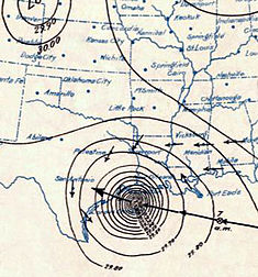 Surface weather analysis of the hurricane on September 8, just before landfall.