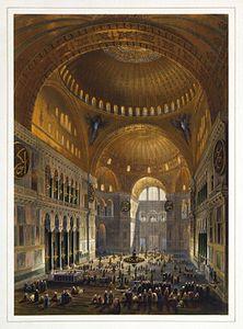 Gaspare Fossati - Louis Haghe - Vue g%C3%A9n%C3%A9rale de la grande nef, en regardant l%27occident (Hagia Sophia - Ayasofya Mosque nave)