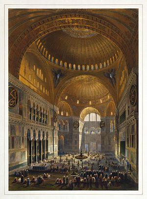 Fossati brothers - Gaspare Fossati's 1852 depiction of the Hagia Sophia, which he and his brother were in charge of renovating. Lithograph by Louis Haghe.