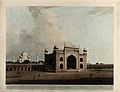 Gateway to the Taj Mahal, Agra, Uttar Pradesh. Coloured aqua Wellcome V0050477.jpg