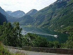 Typical Western Norwegian landscape with village (Geiranger)