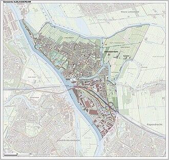 Alblasserdam - Topographic map of Alblasserdam, Sept. 2014