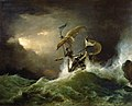 George Philip Reinagle - A First rate Man-of-War driven onto a reef of rocks, floundering in a gale.jpg