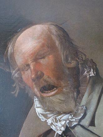 The Hurdy-Gurdy Player - Détail du visage du vielleur