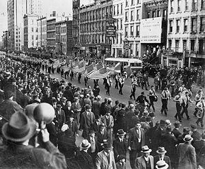 German American Bund - German American Bund parade on East 86th St., New York City, October 30, 1939