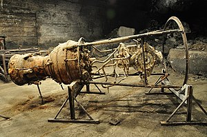 Mittelbau-Dora - Rusty V-2 rocket engine in the underground production facilities of the camp (2012)