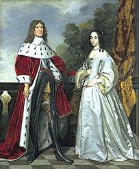 Kurfürst Friedrich Wilhelm mit seiner ersten Ehefrau Luise Henriette von Nassau-Oranien, Gemälde von Gerrit van Honthorst (1647)