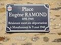 Gesnes-le-Gandelin (Sarthe) église (01) plaque Place Éugène Ramond, résistant.jpg