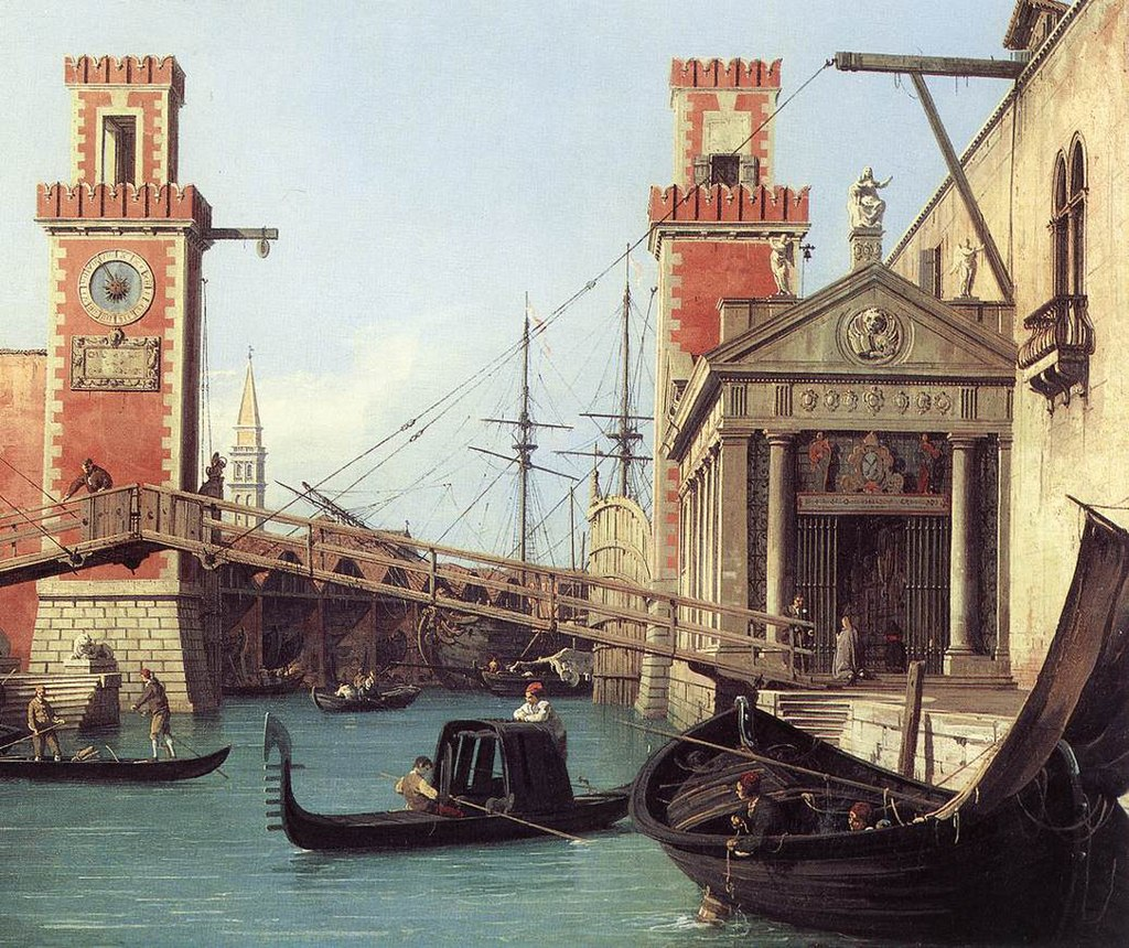 Giovanni Antonio Canal, il Canaletto - View of the Entrance to the Arsenal (detail) - WGA03896.jpg