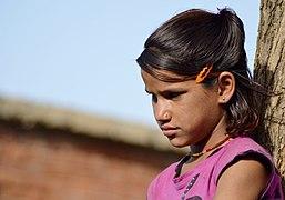 Girl in Mara village, Morena district, India.jpg