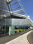 Glass fountain outside Canberra International Airport.jpg