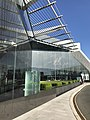 Glass fountain outside Canberra International Airport.jpg