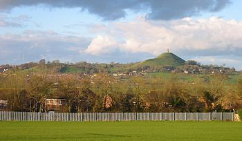 Glastonbury, Somerset, UK seen from the nearby...