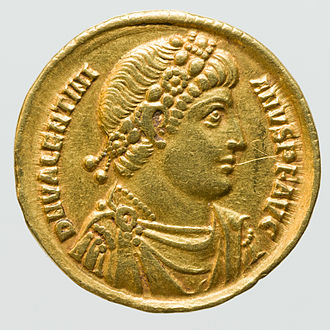 Gold coin - Gold Solidus of Roman Emperor Valentinian II