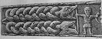 Gjallarhorn - The Gosforth Cross panel often held to depict Heimdallr with Gjallarhorn