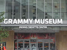 Entrance to the Grammy Museum, a contemporary building