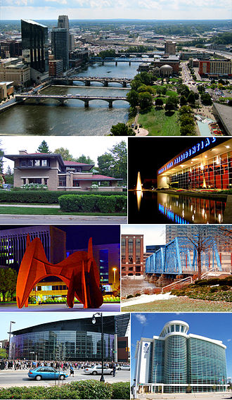 Grand Rapids, Michigan - Images from top to bottom, left to right: downtown cityscape, Meyer May House, Gerald R. Ford Presidential Museum, La Grande Vitesse, pedestrian bridge over the Grand River, Van Andel Arena, Grand Valley State University's Cook–DeVos Center on the Medical Mile