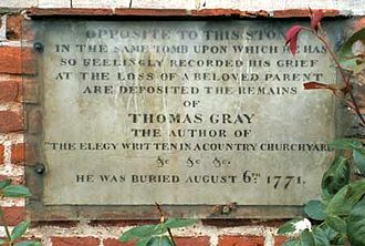 1771 in poetry - Tomb of Thomas Gray in Stoke Poges