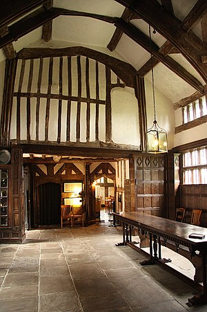Little Moreton Hall - The Great Hall, looking west towards the screens passage