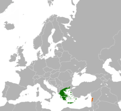 Map indicating locations of Greece and Lebanon