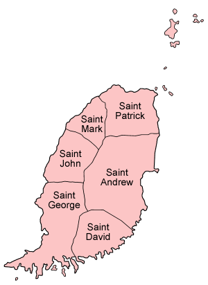 Parishes of Grenada - Image: Grenada parishes named