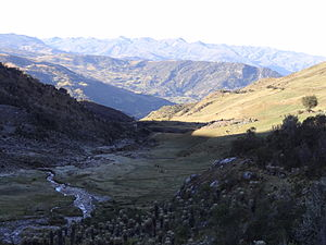 Andes - Panorama of the Andes mountains and their arable lands in Boyaca, Colombia.