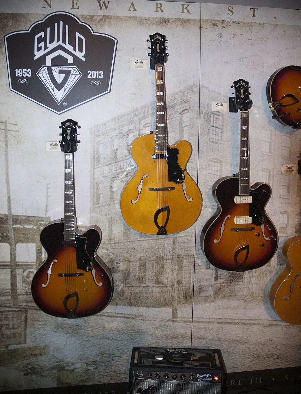 Guild Newark St. Collection 1 - A-150 Savoy (Antique Burst), A-150 Savoy (Blonde), X-175 Manhattan (Antique Burst) - NAMM 2013