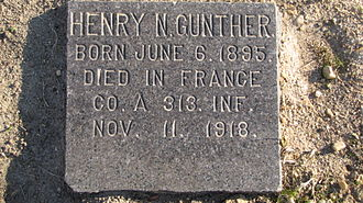 Armistice of 11 November 1918 - Gravestone of Henry N. Gunther in Baltimore