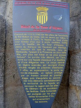 Hôtel de Caumont - Image: Hôtel de la Tour d'Aigues dit de Caumont 1 rue Joseph Cabassol Aix en Provence Potelet
