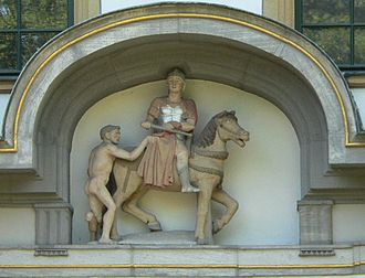 Martin of Tours - Statue of Saint Martin cutting his cloak in two. Höchster Schloss, Höchst.