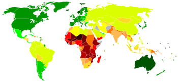 The UN Human Development Index (HDI) is a quantitative index of development, alternative to the classic Gross Domestic Product (GDP), which some use as a proxy to define the Third World. While the GDP only calculates economic wealth, the HDI includes life expectancy, public health and literacy as fundamental factors of a good quality of life.