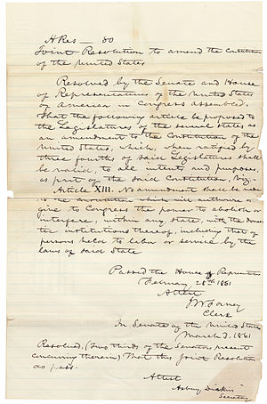 Corwin Amendment - The Corwin Amendment as it was approved by the House of Representatives on February 28, 1861 and the Senate on March 2, 1861.