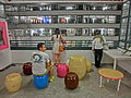 HK Sheung Wan PMQ mall Hollywood Road night shop corridor balcony May-2014 seats visitors.JPG